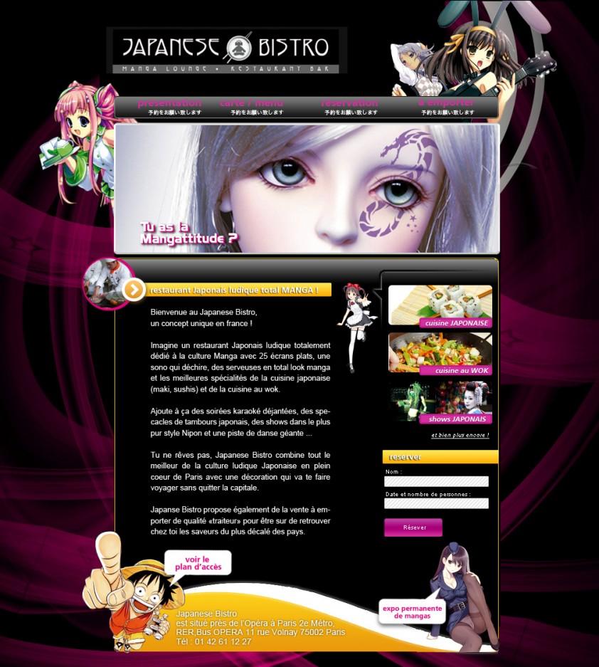 Page d'accueil du site Japanese Bistro